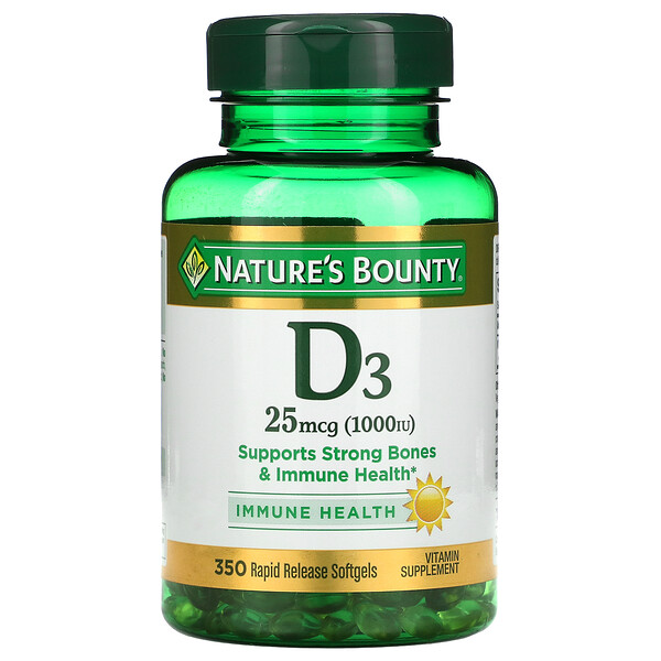 D3, Immune Health, 25 mcg (1,000 IU), 350 Rapid Release Softgels