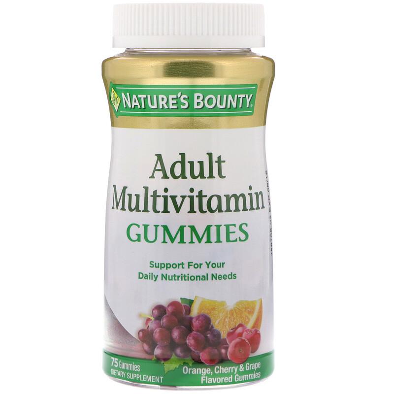 Adult Multivitamin Gummies, Orange, Cherry & Grape Flavored, 75 Gummies