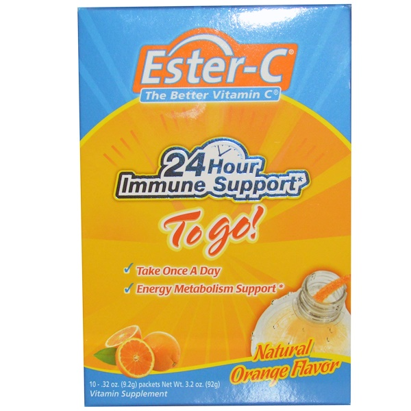 Nature's Bounty, Ester-C, The Better Vitamin C, To Go!, Natural Orange Flavor, 10 Packets, 0.32 oz (9.2 g) Each (Discontinued Item)