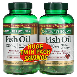 Nature's Bounty, Fish Oil Heart Health, Twin Pack, 360 mg, 180 Rapid Release Softgels Each