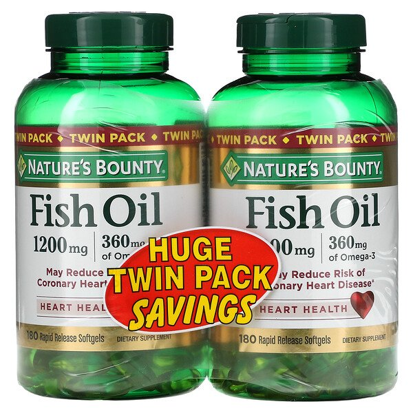 Fish Oil Heart Health, Twin Pack, 360 mg, 180 Rapid Release Softgels Each