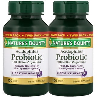 Nature's Bounty, Acidophilus Probiotic, Twin Pack, 100 Tablets Each