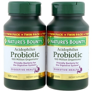 Nature's Bounty, Ацидофильные пробиотики, Двойная упаковка, 100 таблеток в каждой