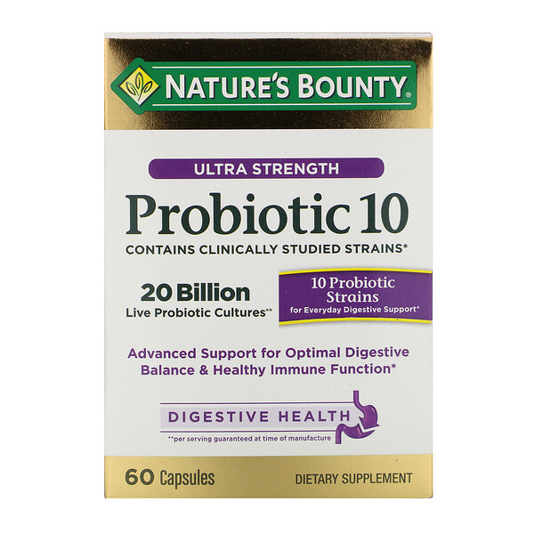 Ultra Strength Probiotic 10, 20 Billion Live Cultures, 60 Capsules
