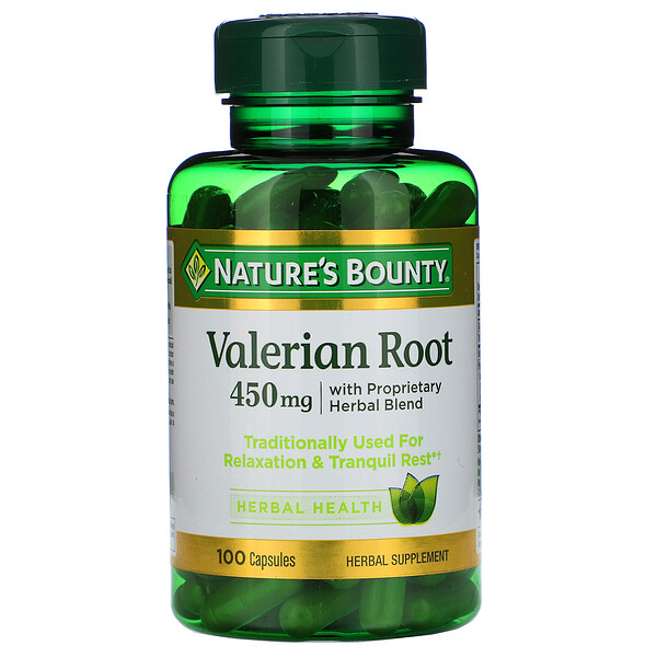 Nature's Bounty, Valerian Root with Proprietary Herbal Blend, 450 mg, 100 Capsules