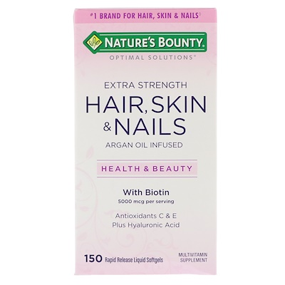 Optimal Solutions, Hair, Skin & Nails, Extra Strength, 150 быстрорастворимых мягких капсул