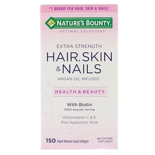 Nature's Bounty, Optimal Solutions, Hair, Skin & Nails, Extra Strength, 150 быстрорастворимых мягких капсул