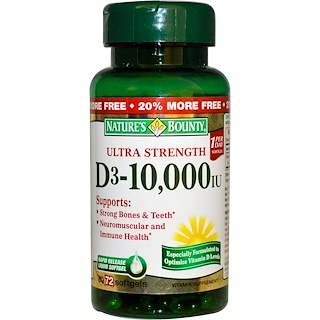 Nature's Bounty, D3, Ultra Strength, 10,000 IU, 72 Rapid Release Softgels