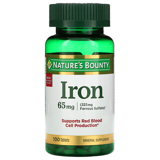 Nature's Bounty, Iron, 65 mg, 100 Tablets