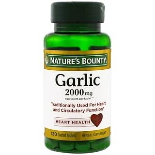 Nature's Bounty, 120 tabletas de ajo de 2 000 mg revestidas, para la salud del corazón