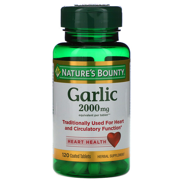 Nature's Bounty, Garlic, 2.000 mg, 120 Comprimidos Revestidos
