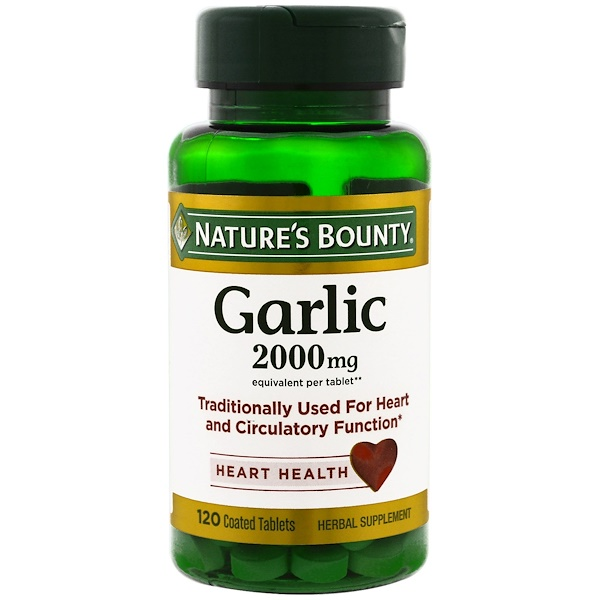Nature's Bounty, Garlic, Heart Health, 2,000 mg, 120 Coated Tablets