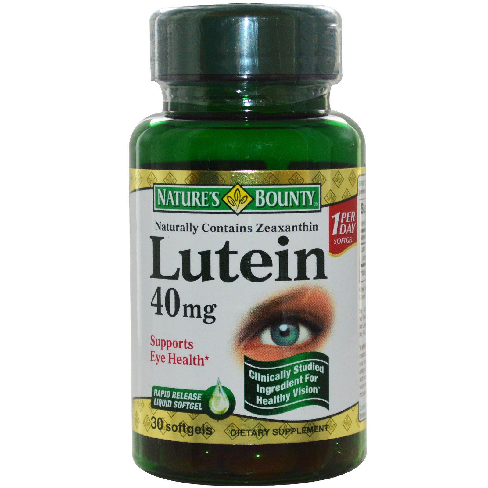 Nature's Bounty, Лютеин, 40 мг, 30 мягких желатиновых капсул с быстрым высвобождением вещества