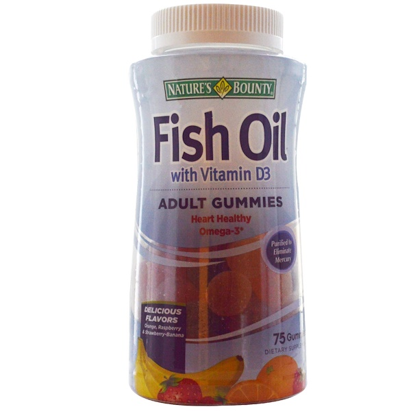Nature 39 s bounty fish oil with vitamin d3 adult gummies for Fish oil vitamin d3