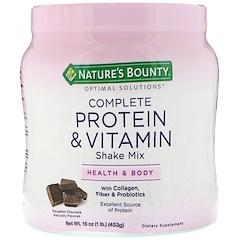 Nature's Bounty, オプティマルソリューションズ、コンプリートプロテイン&ビタミンシェイク・ミックス、贅沢で甘いチョコレート、16オンス(453 g)