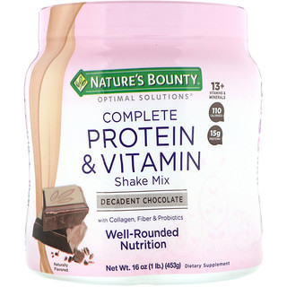 Nature's Bounty, Optimal Solutions, Mix Completo para Shake, Proteína e Vitaminas, Chocolate, 16 oz (453g)