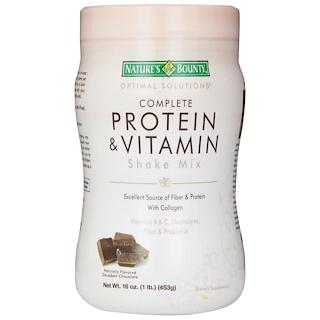 Nature's Bounty, Optimal Solutions, mezcla completa de proteínas y vitaminas, chocolate decadente, 16 oz (453 g)