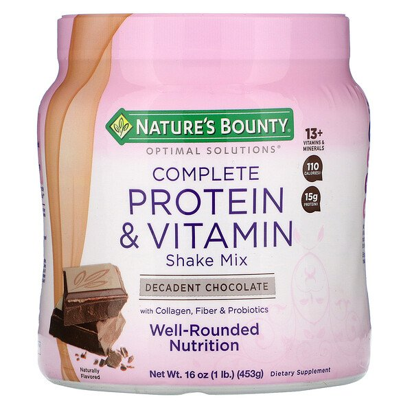Nature's Bounty, Optimal Solutions, Complete Protein & Vitamin Shake Mix, Decadent Chocolate, 16 oz (453 g)
