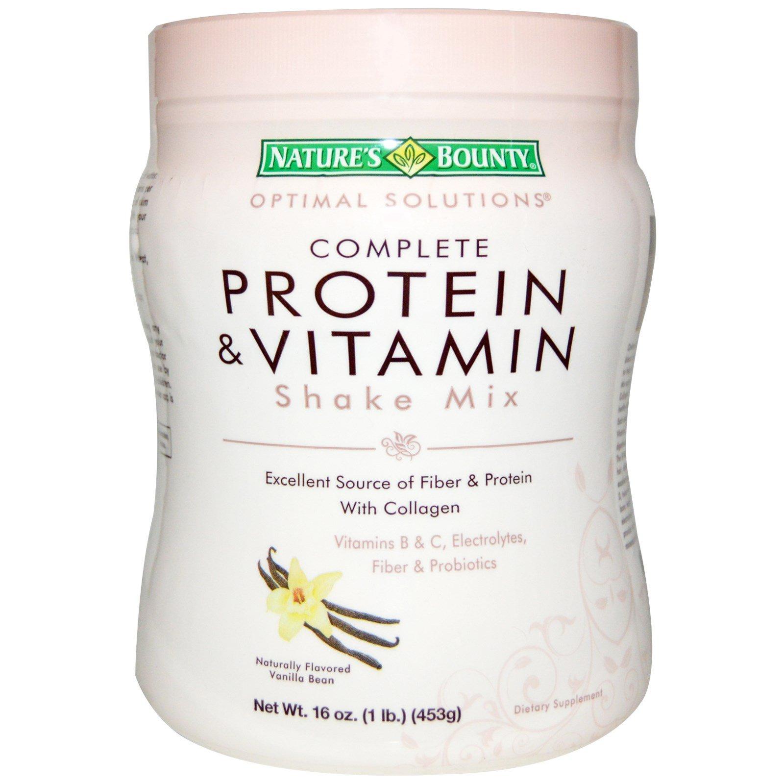 Nature's Bounty, Optimal Solutions, коктейль с полноценным набором протеинов и витаминов, со вкусом ванильных бобов, 453 г
