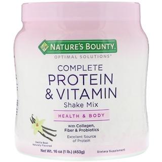 Nature's Bounty, Optimal Solutions, Complete Protein & Vitamin Shake Mix, Vanilla Bean, 16 oz (453 g)