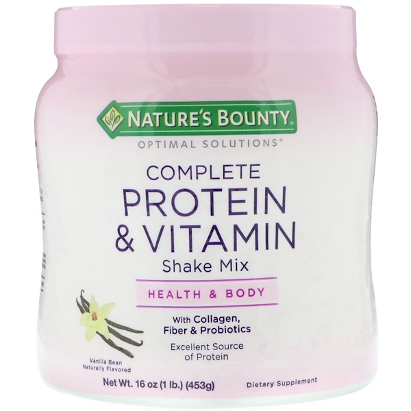 Nature's Bounty, Optimal Solutions, Complete Protein & Vitamin Shake Mix, Vanilla Bean, 16 oz (453 g)