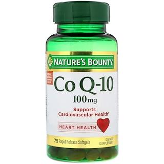 Nature's Bounty, コエンザイムQ10、100mg、速放性ソフトゲル75個