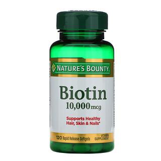 Nature's Bounty, Biotina, 10.000 mcg, 120 cápsulas de liberación rápida