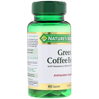 Nature's Bounty, Green Coffee Bean with Raspberry Ketones & Green Tea, 60 Capsules