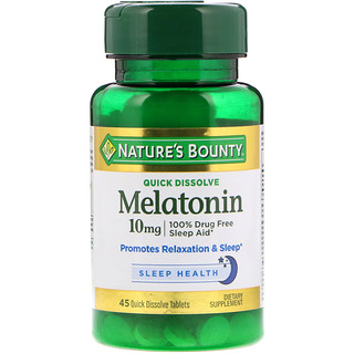 Nature's Bounty, Melatonin, Quick Dissolve, 10 mg, 45 Quick Dissolve Tablets