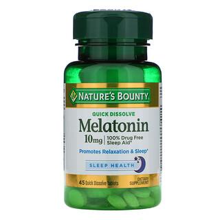 Nature's Bounty, Melatonin, Quick Dissolve, 10 mg, 45 Quick Dissolve Tablets