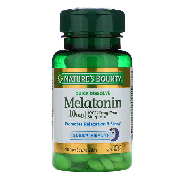 Мелатонин, быстрое растворение, 10 мг, 45 быстрорастворимых таблеток