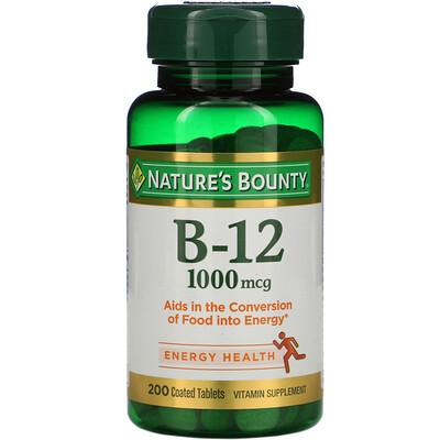 Купить Nature's Bounty B-12, 1000 мкг, 200 таблеток с оболочкой