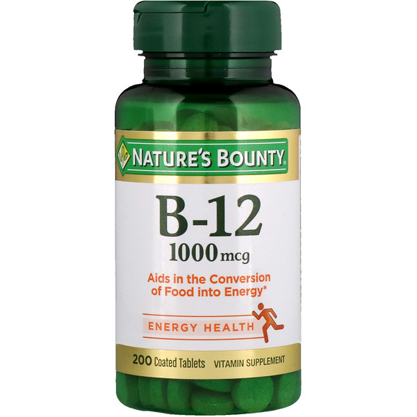 Nature's Bounty, B12, 1000 mcg, 200 tabletas cubiertas