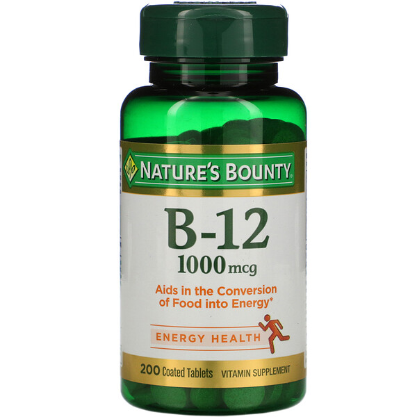 Nature's Bounty, B-12, 1,000 mcg, 200 Coated Tablets