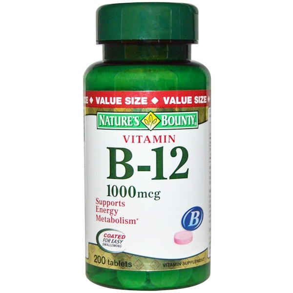 Nature's Bounty, Vitamin B-12, 1000 mcg, 200 Coated Tablets