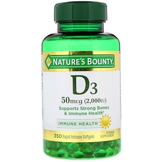 Nature's Bounty, Vitamin D-3, 50 mcg (2000 IU), 350 Softgels
