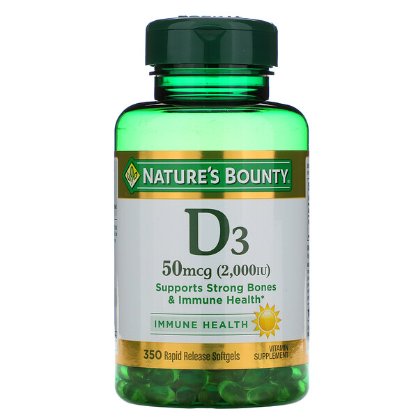 D3, 50 mcg (2,000 IU), 350 Softgels