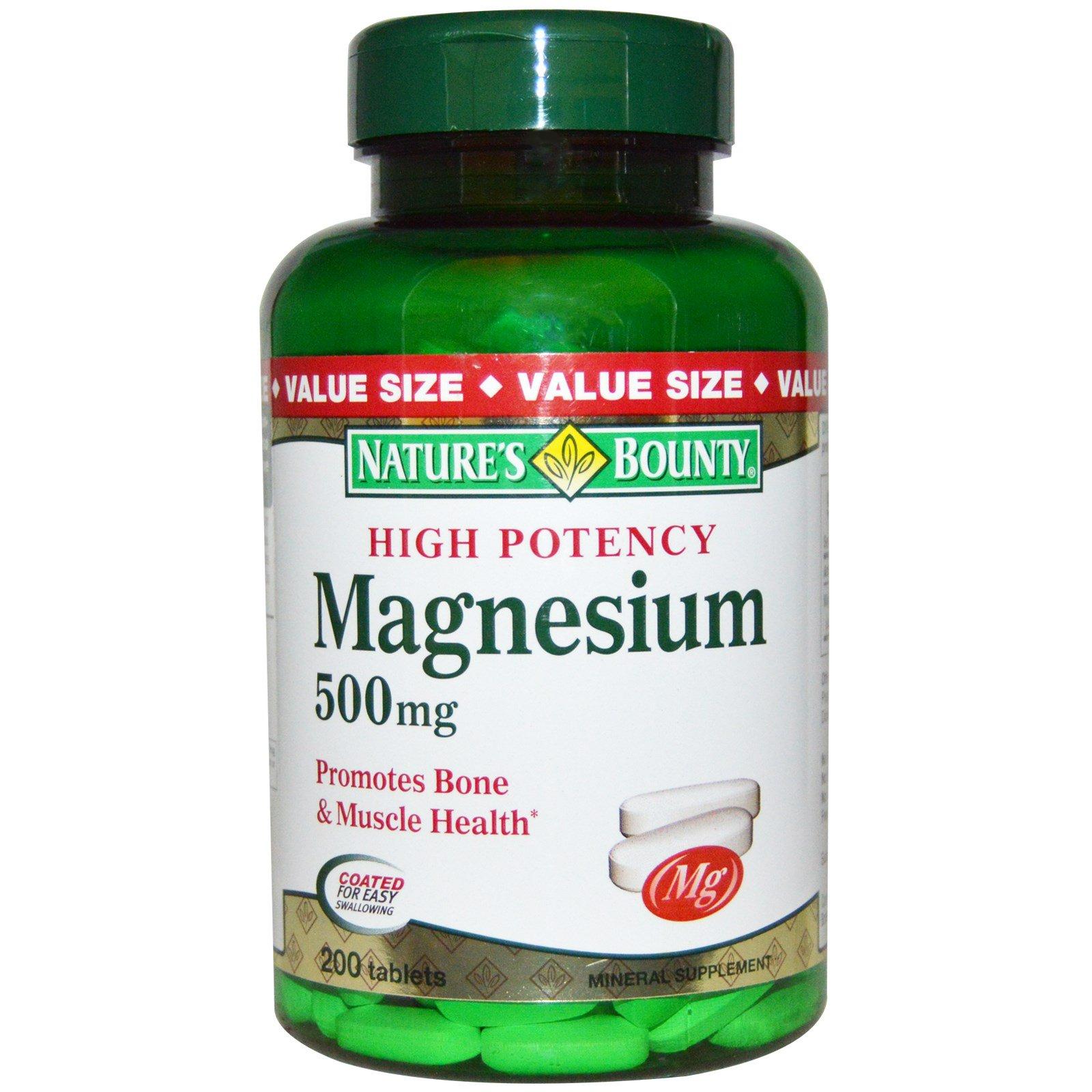 Nature's Bounty, Magnesium, 500 mg, 200 Coated Caplets