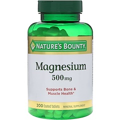 Nature's Bounty, Magnesium, 500 mg, 200 Coated Tablets