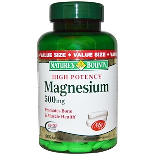 Nature's Bounty, Magnesium, High Potency, 500 mg, 200 Coated Tablets