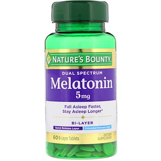Nature's Bounty, Dual Spectrum, Melatonin, 5 mg, 60 Bi-Layer Tablets