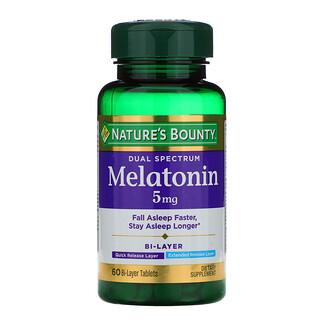 Nature's Bounty, Dual Spectrum, Melatonin, 5 mg, 60 Bi-Layer Tablets