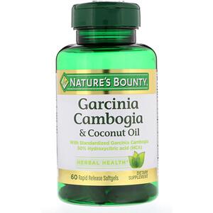 Натурес Баунти, Garcinia Cambogia & Coconut Oil, 60 Rapid Release Softgels отзывы