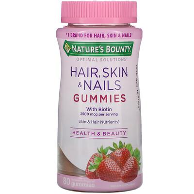 Купить Nature's Bounty Optimal Solutions, для волос, кожи и ногтей, с ароматом клубники, 80 жевательных таблеток