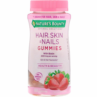 Nature's Bounty, Optimal Solutions, Hair, Skin & Nails Gummies, Strawberry Flavored, 80 Gummies