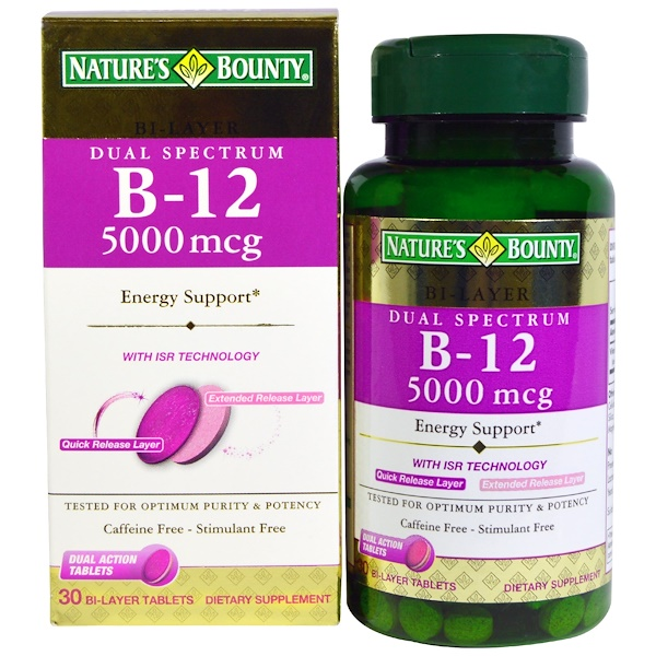 Nature's Bounty, Dual Spectrum B-12, 5000 mcg, 30 Bi-Layer Tablets (Discontinued Item)