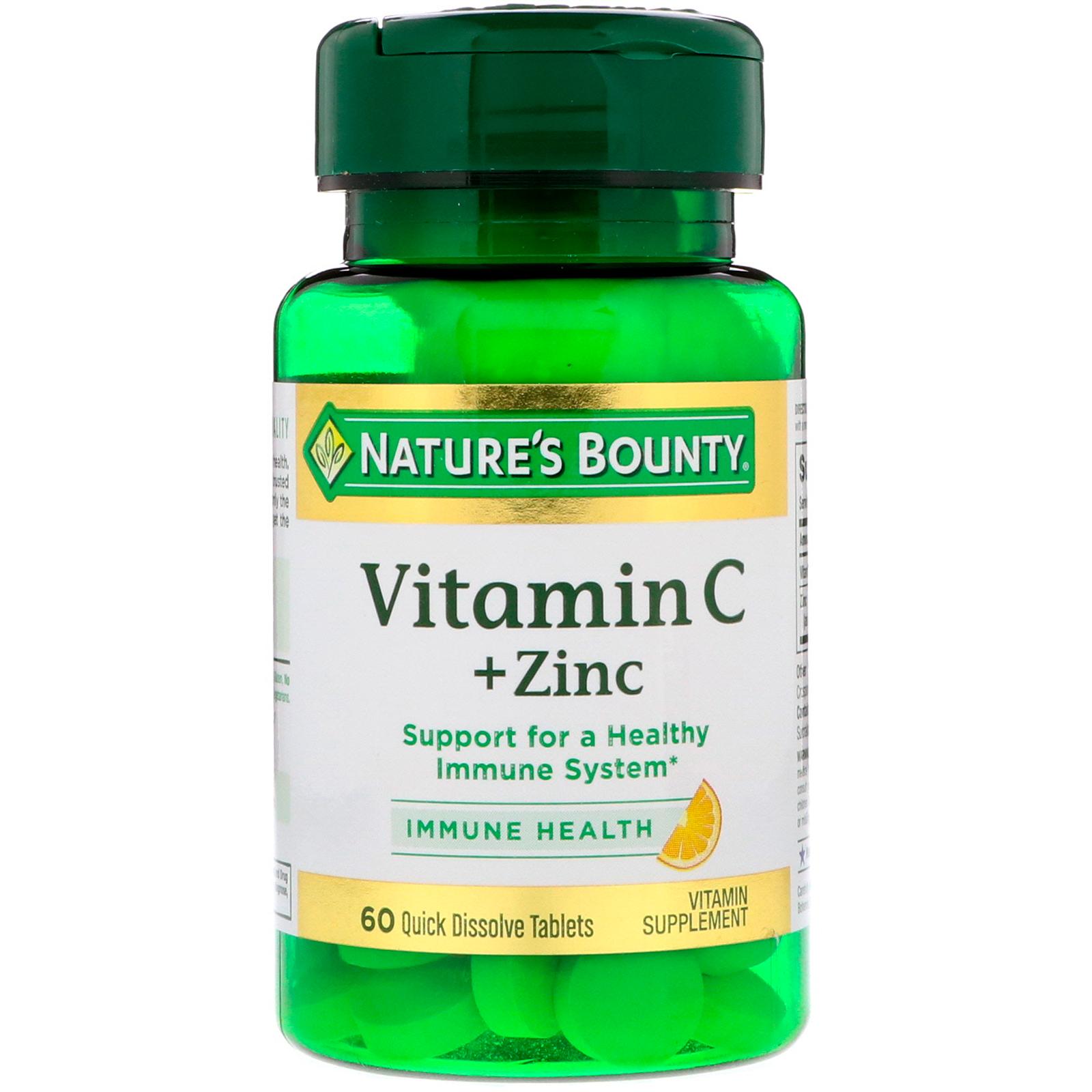 Nature\'s Bounty, Vitamina C más zinc de sabor natural cítrico, 60 ...