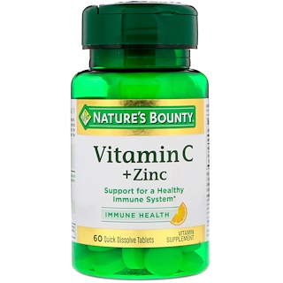 Nature's Bounty, Vitamin C + Zinc, Natural Citrus Flavor, 60 Quick Dissolve Tablets