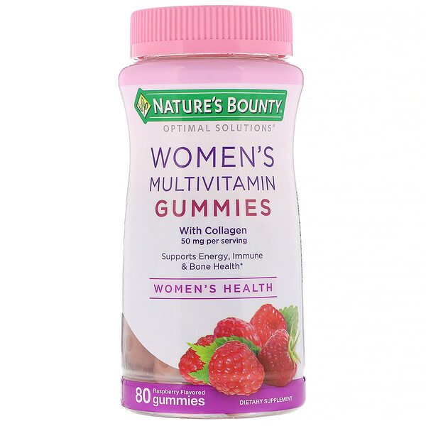 Nature's Bounty, Optimal Solutions, Soluciones óptimas, Gomitas multivitamínicas para mujeres, Sabor a frambuesa, 80 gomitas