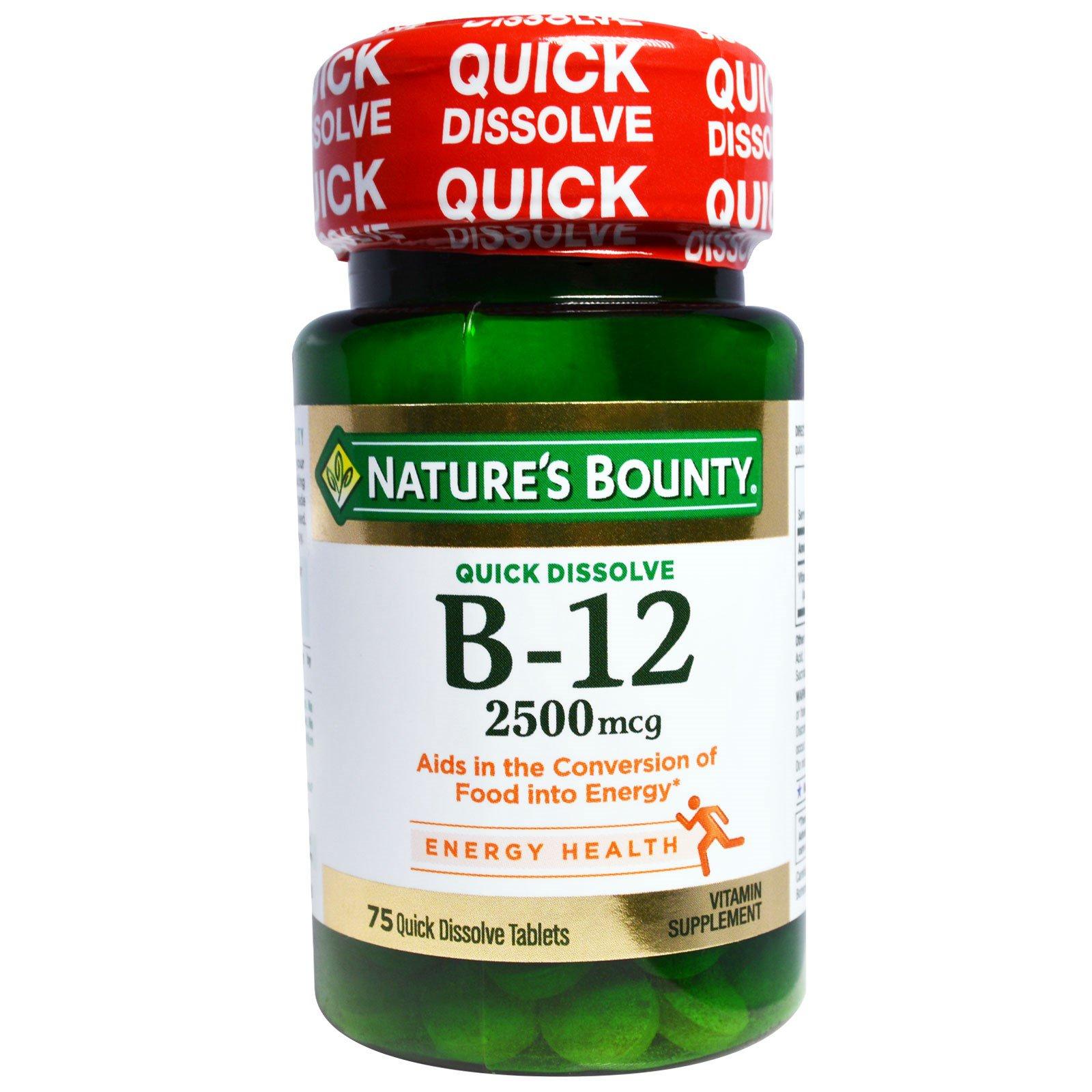 Nature's Bounty, B-12, натуральный вишневый вкус, 2500 мкг, 75 быстрорастворимых таблеток